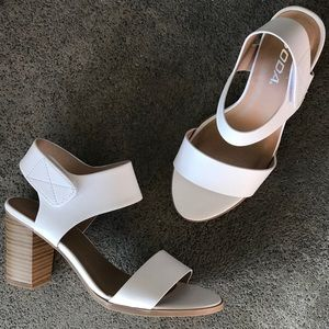 NEW Soda Wait White Velcro Strap Wood Heel Sandal